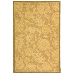 Hand-hooked Abrashed Beige/ Light Brown Wool Rug (8'9 x 11'9)