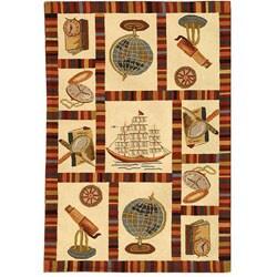 Hand-hooked Explorer Black Wool Rug (3'9 x 5'9)