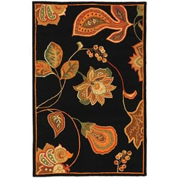 Hand-hooked Autumn Leaves Black/ Orange Wool Rug (1'8 x 2'6)