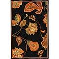 Safavieh Hand-hooked Autumn Leaves Black/ Orange Wool Rug (1'8 x 2'6)