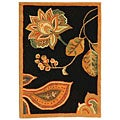 Hand-hooked Autumn Leaves Black/ Orange Wool Runner (2'6 x 4')