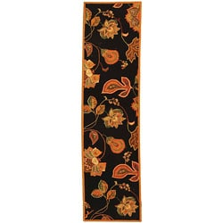 Hand-hooked Autumn Leaves Black/ Orange Wool Runner (2'6 x 6')