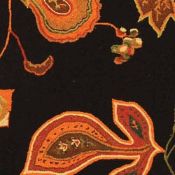 Hand-hooked Autumn Leaves Black/ Orange Wool Runner (2'6 x 8')