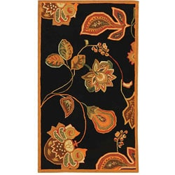 Safavieh Hand-hooked Autumn Leaves Black/ Orange Wool Rug (2'9 x 4'9)