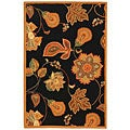 Hand-hooked Autumn Leaves Black/ Orange Wool Rug (3'9 x 5'9)
