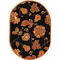 Hand-hooked Autumn Leaves Black/ Orange Wool Rug (7'6 x 9'6)