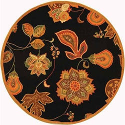 Hand-hooked Autumn Leaves Black/ Orange Wool Rug (5'6 Round)