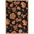 Hand-hooked Autumn Leaves Black/ Orange Wool Rug (5'3 x 8'3)