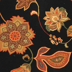 Hand-hooked Autumn Leaves Black/ Orange Wool Rug (6' x 9')