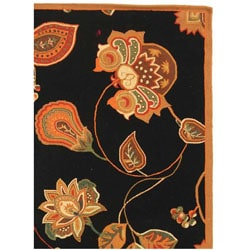 Hand-hooked Autumn Leaves Black/ Orange Wool Rug (7'9 x 9'9)