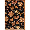Hand-hooked Autumn Leaves Black/ Orange Wool Rug (8'9 x 11'9)