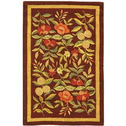 Safavieh Hand-hooked Botanical Burgundy Wool Rug (1'8 x 2'6)