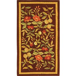 Hand-hooked Botanical Burgundy Wool Runner (2'6 x 6')