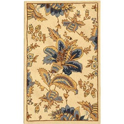 "Hand-Hooked Floral Garden Ivory Wool Runner (2'6"" x 4')"