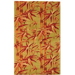Handmade Bamboo Sage/ Rust New Zealand Wool Rug (8' x 10')