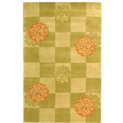 Handmade Checker Floral Sage New Zealand Wool Rug (8' x 10')