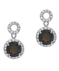 Glitzy Rocks 18k Smokey Quartz and CZ Circle Dangle Earrings