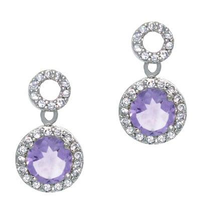 Glitzy Rocks 18k Amethyst and CZ Circle Dangle Earrings
