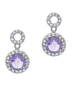 Glitzy Rocks 18k Amethyst and CZ Circle Dangle Earrings