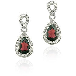 Glitzy Rocks 18k Garnet and CZ Teardrop Dangle Earrings