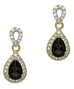 Glitzy Rocks 18k Gold over Silver Smokey Quartz Teardrop Earrings