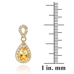 Glitzy Rocks 18k Gold over Silver Citrine and CZ Teardrop Earrings