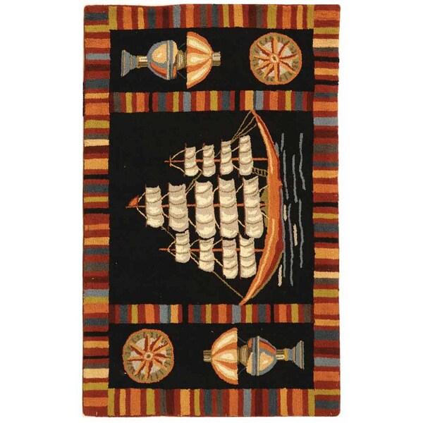 Safavieh Hand-hooked Explorer Black Wool Rug (1'8 x 2'6)
