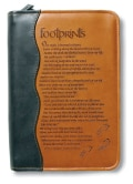 Footprints Book & Bible Cover: Duo-tone, Footprints, Medium, Two Tone Brown (Paperback)