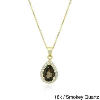 Glitzy Rocks 2 3/4 CTW Gemstone and CZ Teardrop Necklace