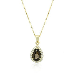 Glitzy Rocks 2 3/4 CTW Gemstone and CZ Teardrop Necklace