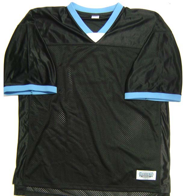 Black Men's Football Jersey with Blue and White Accents