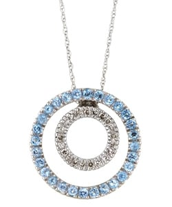 10k Gold Blue Topaz and 1/8ct TDW Diamond Necklace