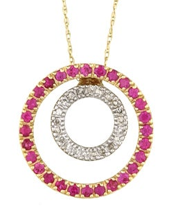10k White Gold Ruby and 1/8ct TDW Diamond Necklace
