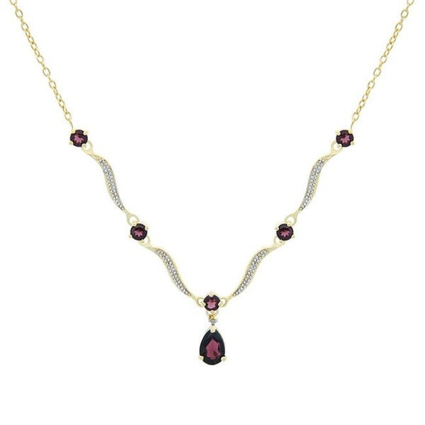 Glitzy Rocks 18k Gold over Sterling Silver 3.2ct TGW Garnet Wave Necklace