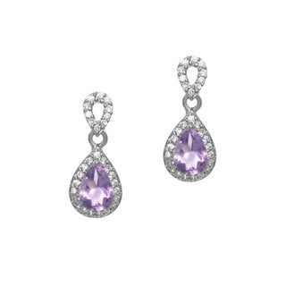 Glitzy Rocks Sterling Silver 1 3/4ct TGW Amethyst and CZ Earrings