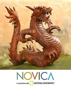 'Legendary Dragon' Wood Sculpture (Indonesia)