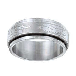 Stainless Steel Tribal Dragon Spinner Ring