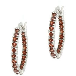 Glitzy Rocks Sterling Silver Inside-out Garnet Hoop Earrings
