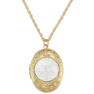 American Coin Treasures Silver Libertad Coin and Mustard Seed Locket
