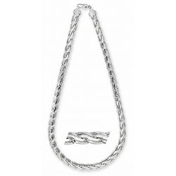 Simon Frank 14k White Gold Overlay10mm Pharaoh Chain (24-inch)