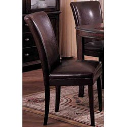Chocolate Bicast Leather Parson Chairs (Set of 2)