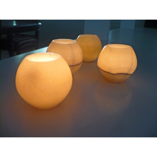 Set of 4 Polished Alabaster Globes (Egypt)