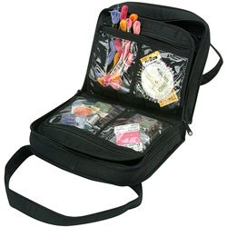 Yazzii Black Quilted Cotton Oval Craft Organizer Bag - 12 Compartments