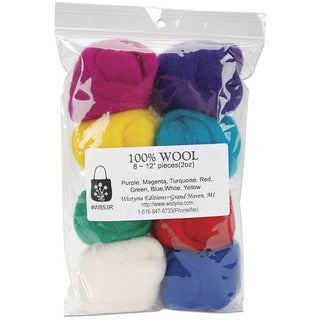 Wistyria Editions Violet/Yellow/Green Assorted Wool Roving (Pack of Eight)