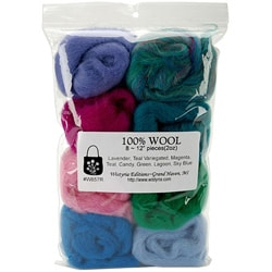 Imported Wool Roving Package with Eight Assorted Colors
