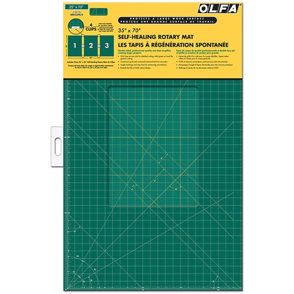 OLFA Gridded 35x70 Cutting Mat and Clips Set