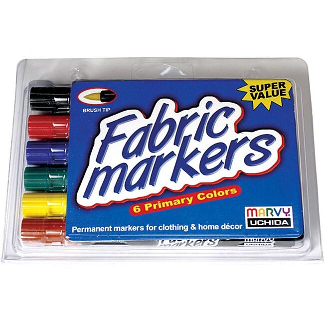Uchida Brush Tip Fabric Markers (Pack of 6)