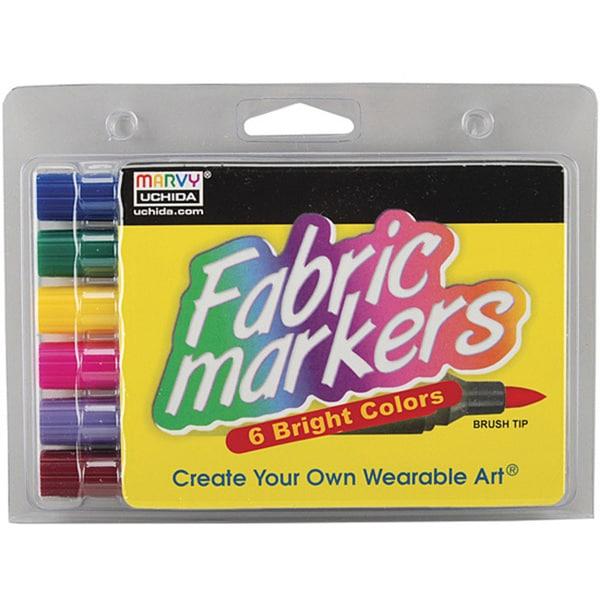 Uchida Nontoxic Brush-Tip Fabric Markers (Pack of 6)