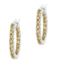 Glitzy Rocks Sterling Silver Inside-out Citrine Hoop Earrings