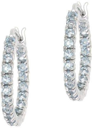 Glitzy Rocks Sterling Silver Inside-out Blue Topaz Hoop Earrings